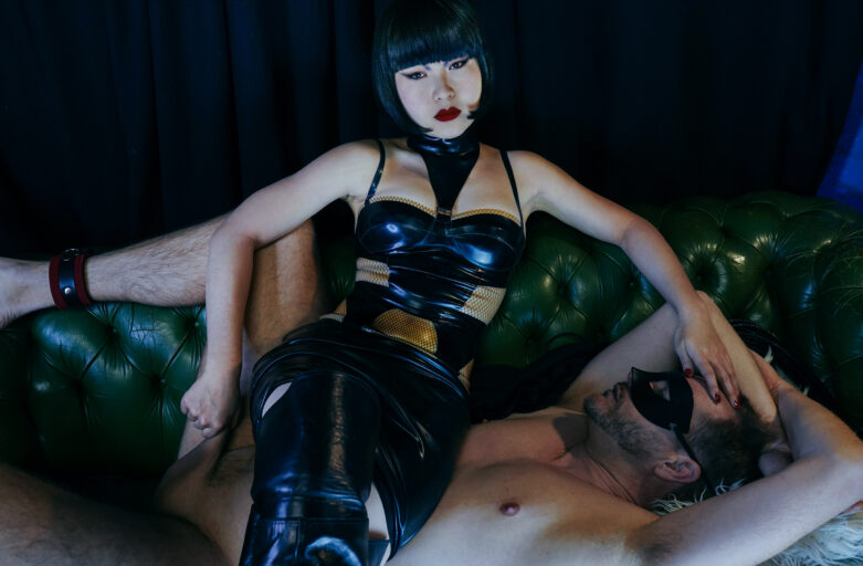 Cover for Night terror Femdom Erotica Miss Opium London Asian Dominatrix sitting on top of a man