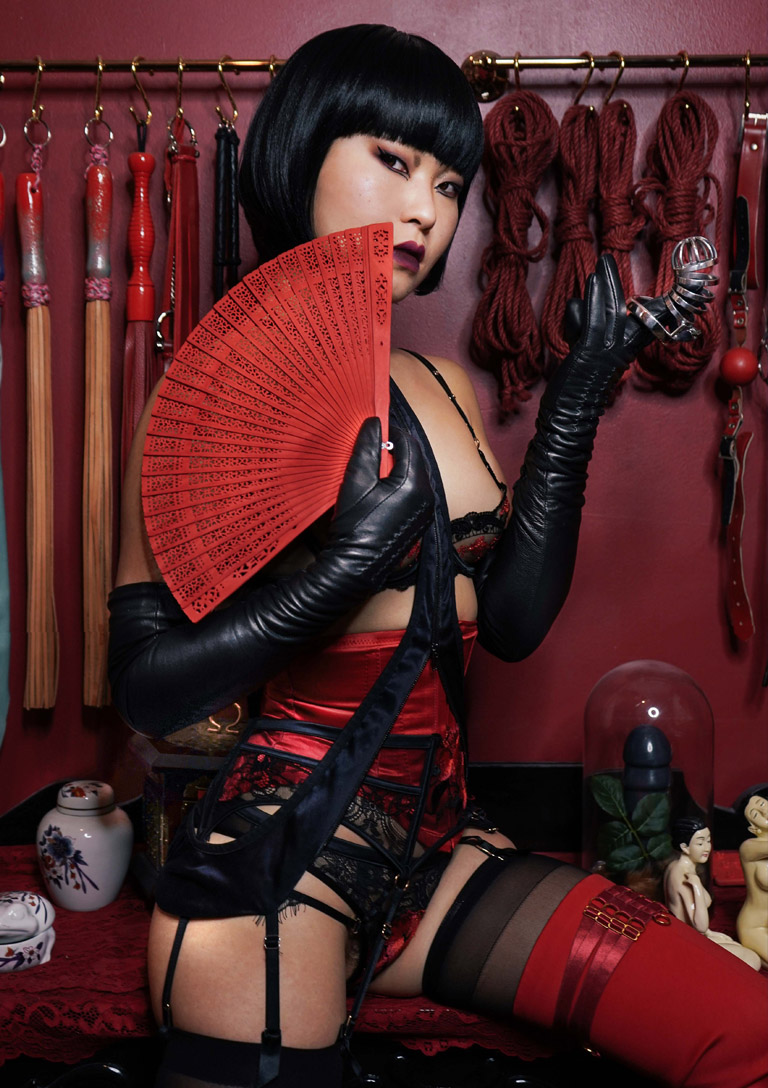 MissOpium London Asian Dominatrix Mistress Lingerie Fan Cage