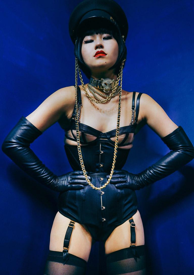 MissOpium London Asian Dominatrix Mistress Lingerie Corset Leather Gloves