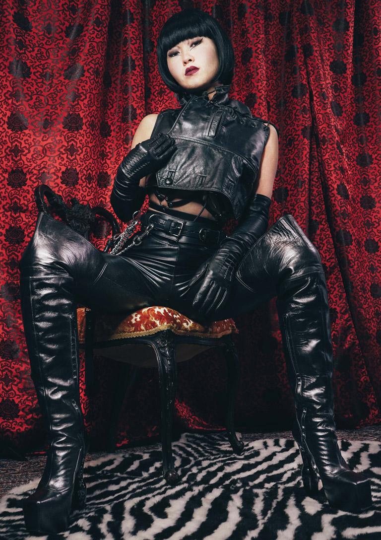 MissOpium London Asian Dominatrix Mistress Leather Outfit Boots