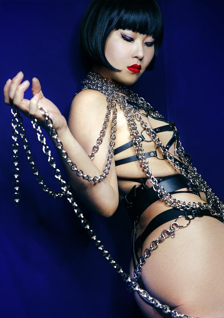 MissOpium London Asian Dominatrix Mistress Chains Lingerie