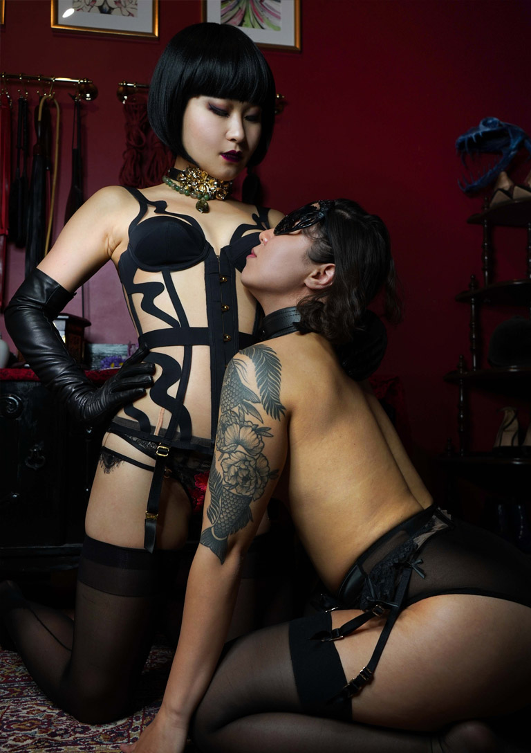 MissOpium London Asian Dominatrix Mistress Lingerie Corset Slave Girl