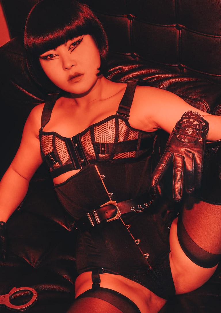 MissOpium London Asian Dominatrix Mistress Leather Gloves Lingerie Stockings